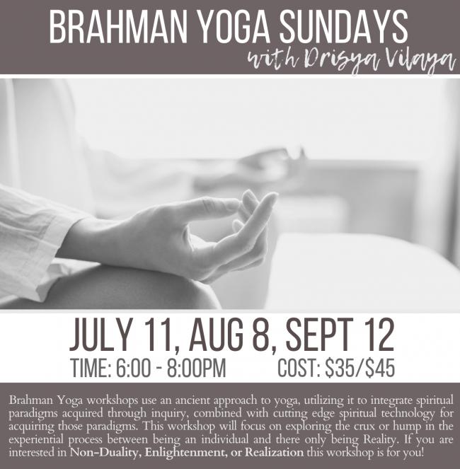 yoga workshop, yoga studio, yoga community, crested butte yoga, brahman, meditation, spirituality, non-duality